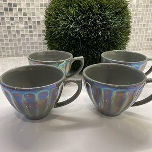 Anthropologie NWT Lustered Latte Mug Set of 4